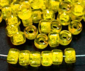 Best.Nr.:52008 Glasperlen gelb transparent, hergestellt in Gablonz / Tschechien