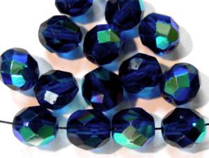 Best.Nr.:28254 facettierte Glasperlen montanablau mit AB
