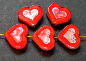Best.Nr.:67642 Glasperlen / Table Cut Beads rot Perlettglas, Herzen geschliffen mit picasso finish