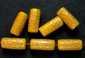 Best.Nr.:59183 vintage style Glasperlen, Schlangenperle Körper, nach alten Vorlagen aus den 1920 Jahren neu gefertigt, gelb mit Goldauflage