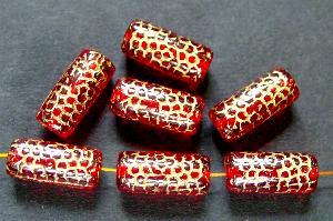 Best.Nr.:59194 vintage style Glasperlen, Schlangenperle Körper, nach alten Vorlagen aus den 1920 Jahren neu gefertigt, rot transparent mit Goldauflage