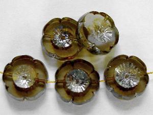 Best.Nr.:671092 Glasperlen / Table Cut Beads rauch transparent, Blüten geschliffen mit picasso finish