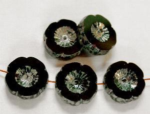 Best.Nr.:671079 Glasperlen / Table Cut Beads schwarz, Blüten geschliffen mit picasso finish