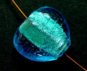 Best.Nr.:64008 handgefertigte Lampenperle, Herz mit eingearbeiteter Silberfolie