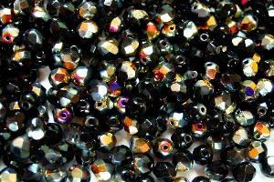 Best.Nr.:41073 facettierte Glasperlen schwarz opak mit metallic Veredelung