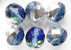 Best.:Nr.:28240 facettierte Glasperlen eine Seite mit silber Veredelung