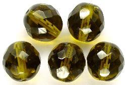 Best.Nr.:27363 facettierte Glasperlen oliv