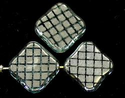 Best.Nr.:67189 Glasperlen zarttürkis Table Cut Beads geschliffen mit Veredelung / silberfarben