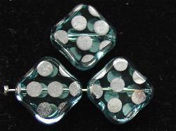 Best.Nr.:67191 Glasperlen zarttürkis Table Cut Beads geschliffen mit Veredelung / silberfarben