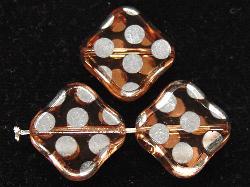 Best.Nr.:67193 Glasperlen zartapricot Table Cut Beads geschliffen mit Veredelung / silberfarben