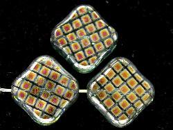 Best.Nr.:67187 Glasperlen zarttürkis Table Cut Beads geschliffen mit Veredelung / silber/cupferfarben