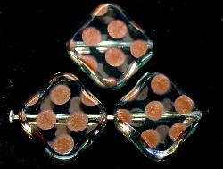 Best.Nr.:67194 Glasperlen zarttürkis Table Cut Beads geschliffen mit Veredelung / cupferfarben