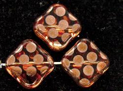Best.Nr.:67195 Glasperlen zartapricot Table Cut Beads geschliffen mit Veredelung / cupferfarben