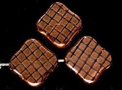 Best.Nr.:67188 Glasperlen zartapricot Table Cut Beads geschliffen mit Veredelung / cupferfarben