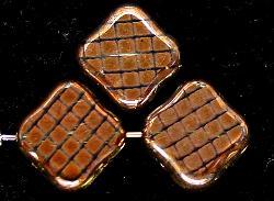 Best.Nr.:67192 Glasperlen zarttürkis Table Cut Beads geschliffen mit Veredelung / cupferfarben