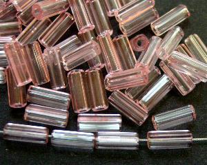 Best.Nr.:48003 Glasperlen Stäbchen fünfkantig rosa transparent