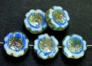 Best.Nr.:67997 Glasperlen / Table Cut Beads weiß blau, Blüten geschliffen mit picasso finish