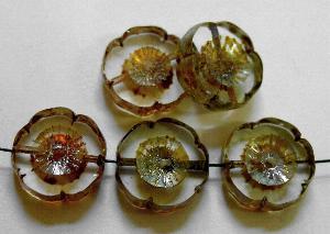 Best.Nr.:67012 Glasperlen / Table Cut Beads kristall, Blüten geschliffen mit picasso finish