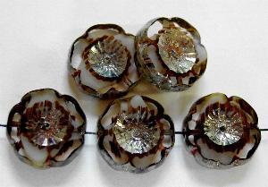 Best.Nr.:671139 Glasperlen / Table Cut Beads kristall weiß braun, Blüten geschliffen mit picasso finish