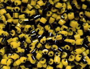 Best.Nr.:63480 Glasperlen in den 1930/40 Jahren in Gablonz/Böhmen hergestellt 2-cut gelb schwarz