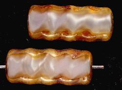 Best.Nr.:67214 Glasperlen / Table Cut Beads geschliffen mit Travertin-Veredelung
