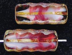 Best.Nr.:67221 Glasperlen / Table Cut Beads geschliffen mit Travertin-Veredelung