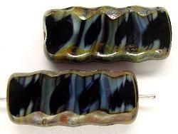 Best.Nr.:67219 Glasperlen / Table Cut Beads geschliffen mit Travertin-Veredelung