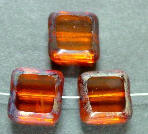 Best.Nr.:671073 Glasperlen / Table Cut Beads geschliffen topas, Rand mit Travertin-Veredelung