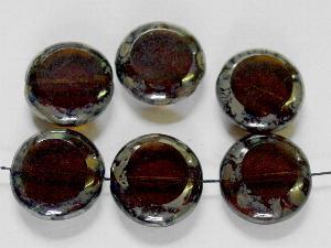 Best.Nr.:671130 Glasperlen / Table Cut Beads braun, geschliffen mit picasso finish