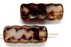 Best.Nr.:67175 Glasperlen / Table Cut Beads geschliffen mit Travertin-Veredelung
