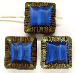 Best.Nr.:67324 Glasperlen / Table Cut Beads geschliffen mit Travertin-Veredelung