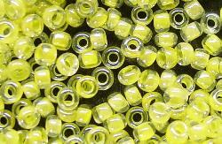Best.Nr.:12113 Rocailles kristall mit Farbeinzug gelb /schillernd (irisierend)