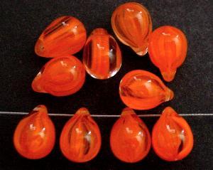 Best.Nr.:s-0005 Glasperlen Tropfen orange kristall, hergestellt in Gablonz Tschechien