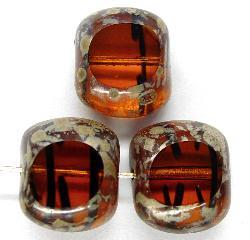 Best.Nr.:67333 Glasperlen / Table Cut Beads geschliffen mit picasso finish