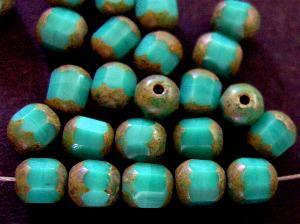 Best.Nr.:26318 geschliffene Glasperlen / lampion beads türkis mit picasso finishng