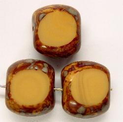 Best.Nr.:67334 Glasperlen / Table Cut Beads geschliffen mit Travertin-Veredelung
