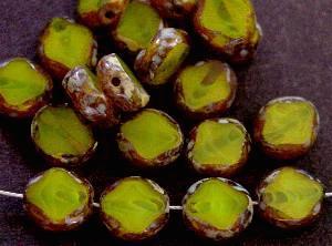 Best.Nr.:67974 Glasperlen / Table Cut Beads geschliffen, oliv mit picasso finish