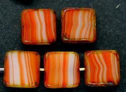 Best.Nr.:67303 Glasperlen / Table Cut Beads geschliffen mit Travertin-Veredelung