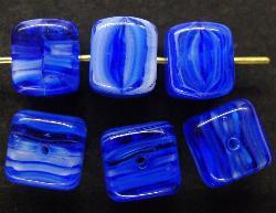 Best.Nr.:49222 Glasperlen Würfel blau, hergestellt in Gablonz / Tschechien