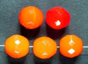 Best.Nr.:65070 facettierte Glasperlen Alabasterglas orange, hergestellt in Gablonz Tschechien