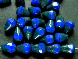 Best.Nr.:26279 facettierte Glasperlen Tropfen blau