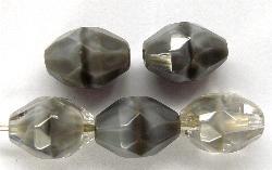 Best.Nr.:26161 geschliffene Oliven kristall Perlettglas grau, hergestellt in Gablonz Tschechien