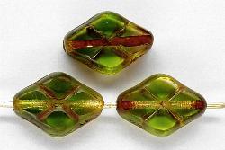 Best.Nr.:67288 Glasperlen / Table Cut Beads geschliffen grün transp. mit Travertin-Veredelung