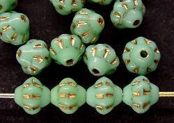 Best.Nr.:53001 Glasperlen Doppelkegel  mintgrün opak mit Goldauflage, hergestellt in Gablonz / Tschechien