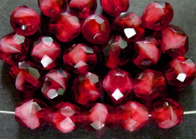 Best.Nr.:26249 facettierte Glasperlen fuchsia weiß