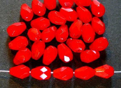 Best.Nr.:26394 facettierte Glasperlen Tropfen rot