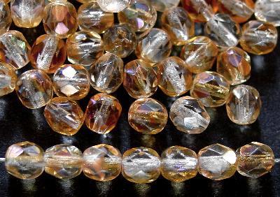 Best.Nr.:24066 facettierte Glasperlen champagner mit ligh AB, hergestellt in Gablonz / Tschechien