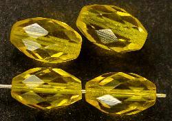 Best.Nr.:27355 facettierte Glasperlen Olive gelb Um 1950 in Gablonz/ Böhmen hergestellt