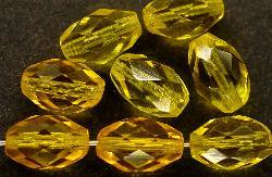 Best.Nr.:27359 facettierte Glasperlen Olive gelb Um 1950 in Gablonz/ Böhmen hergestellt