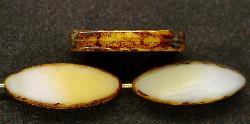Best.Nr.:67260 Glasperlen / Table Cut Beads geschliffen weiß beige mit picasso finish,  hergestellt in Gablonz / Tschechien